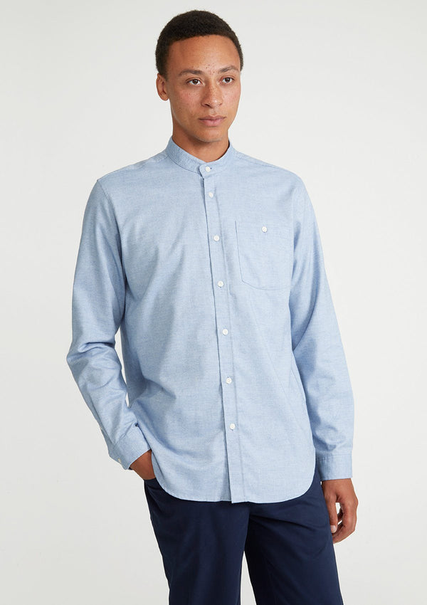 Blue Cotton Cashmere Grandad Shirt