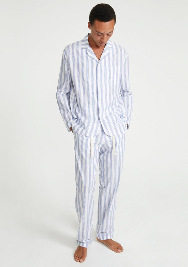 Blue Striped Cotton Silk Pyjama Set
