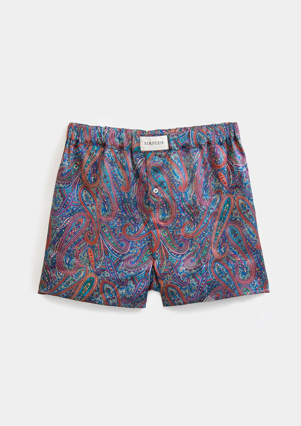 Blue Paisley Print Silk Boxer Shorts - Made with Liberty Fabric