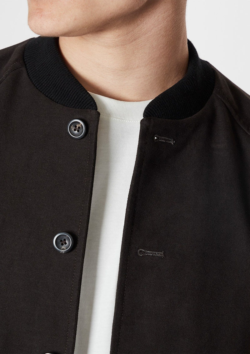 Brown Moleskin Bomber Jacket
