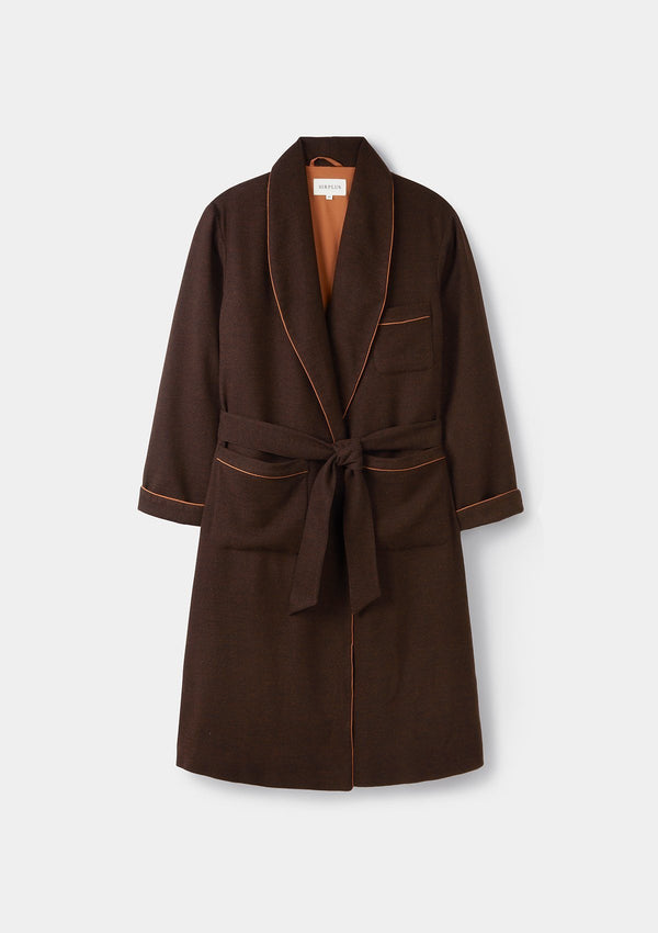 Brown Wool Cashmere Dressing Gown