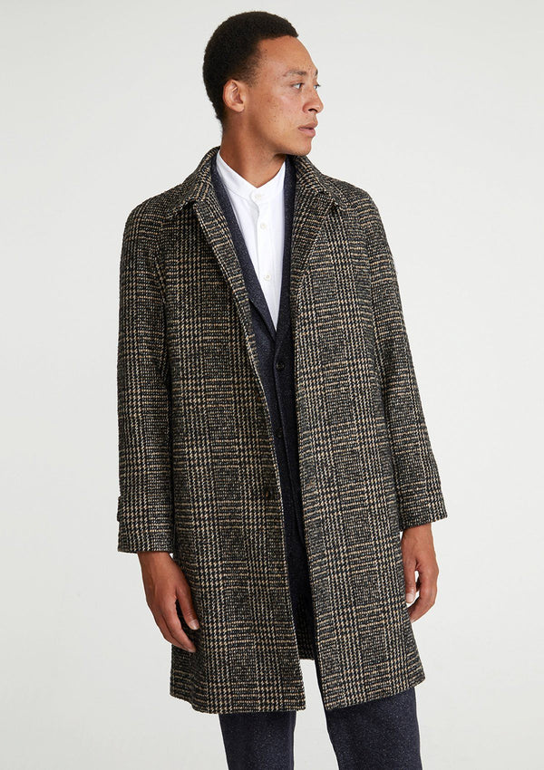Brown Checked Wool Overcoat
