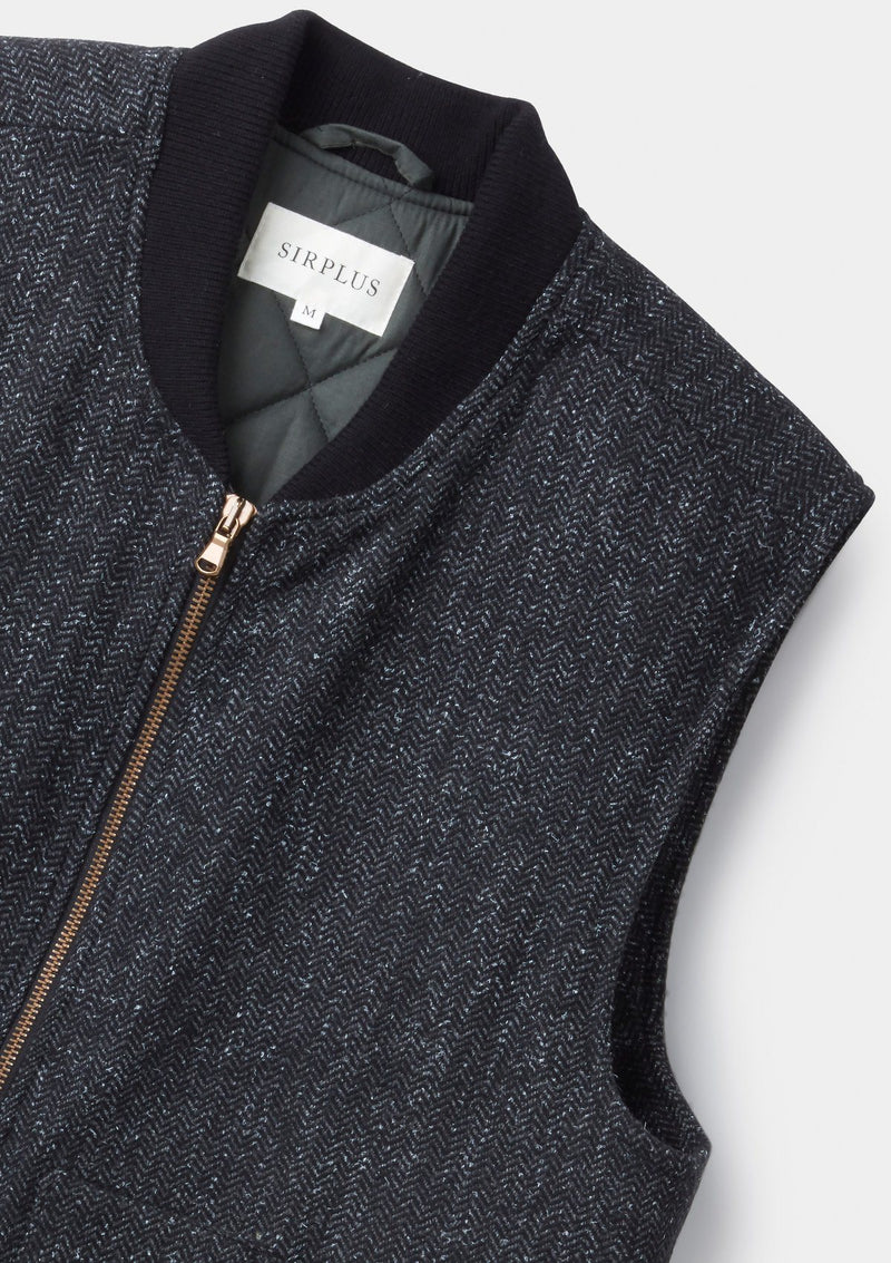 Charcoal Herringbone Wool Gilet