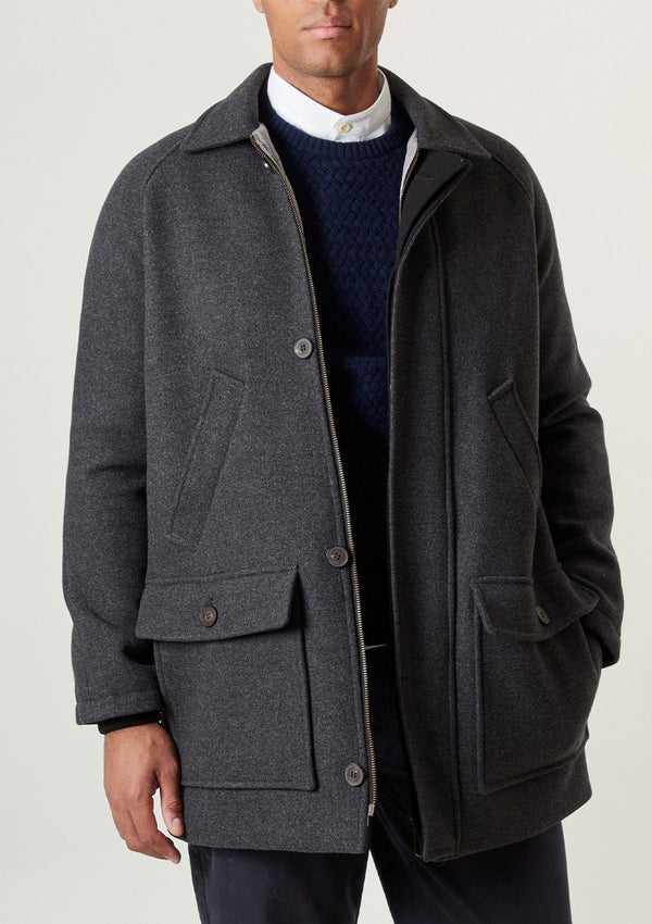 Charcoal Wool Field Coat