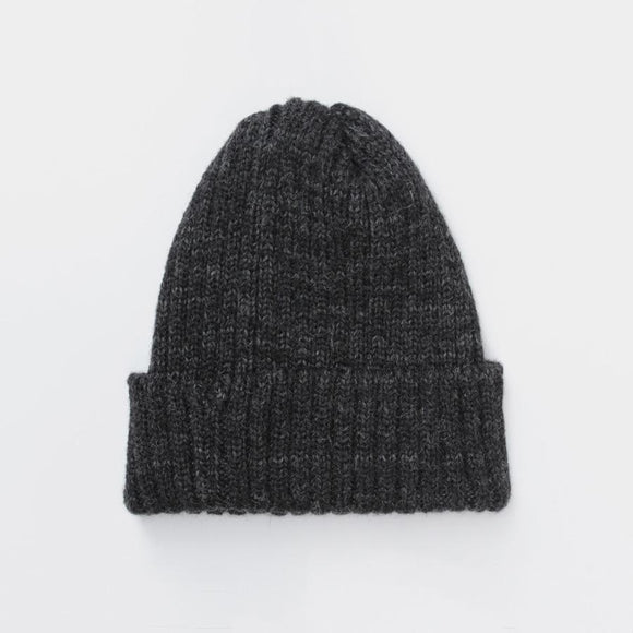 CHARCOAL RIBBED BEANIE HAT - Alpaca Wool Blend