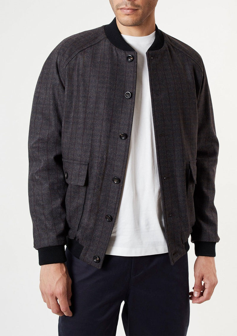 Charcoal Checked Bomber Jacket, Bomber Jackets - SIRPLUS