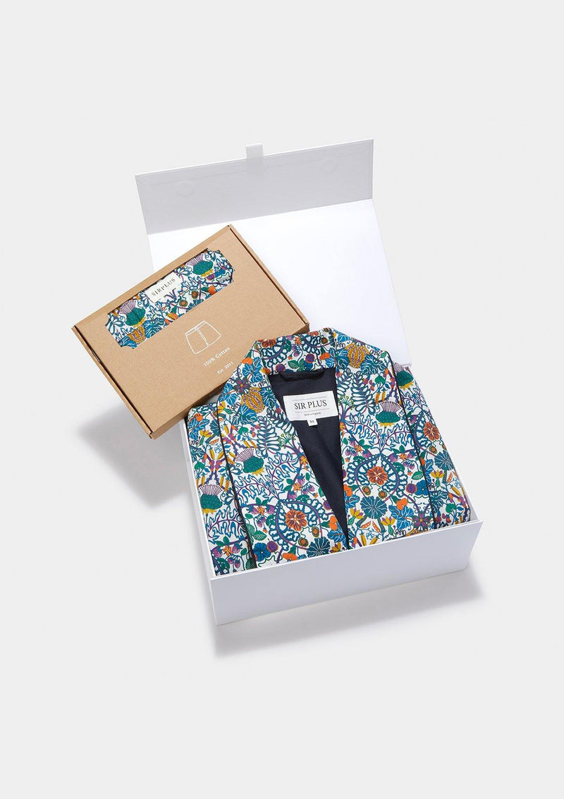 Cotton Dressing Gown & Boxer Gift Box - Made with Liberty Fabric