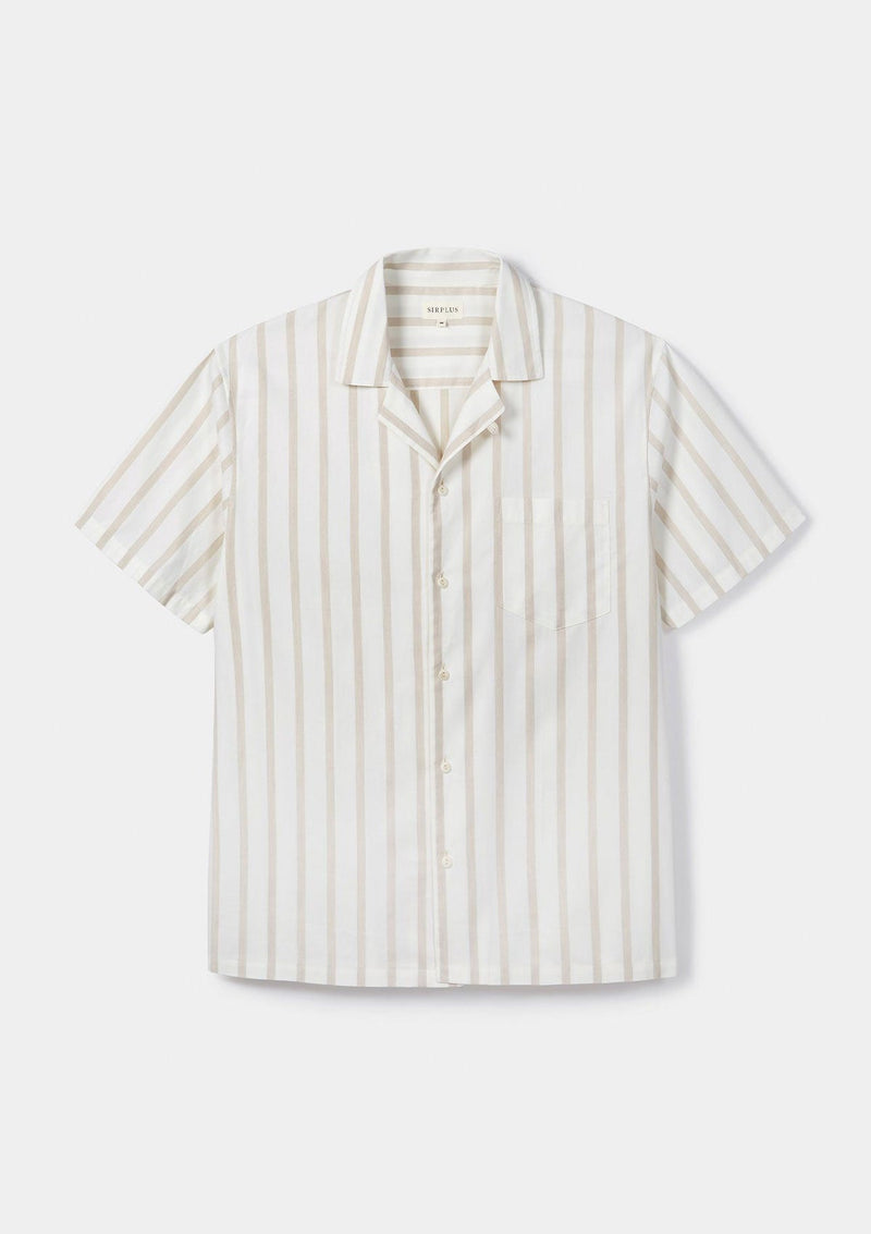Cream Striped Cuban Shirt