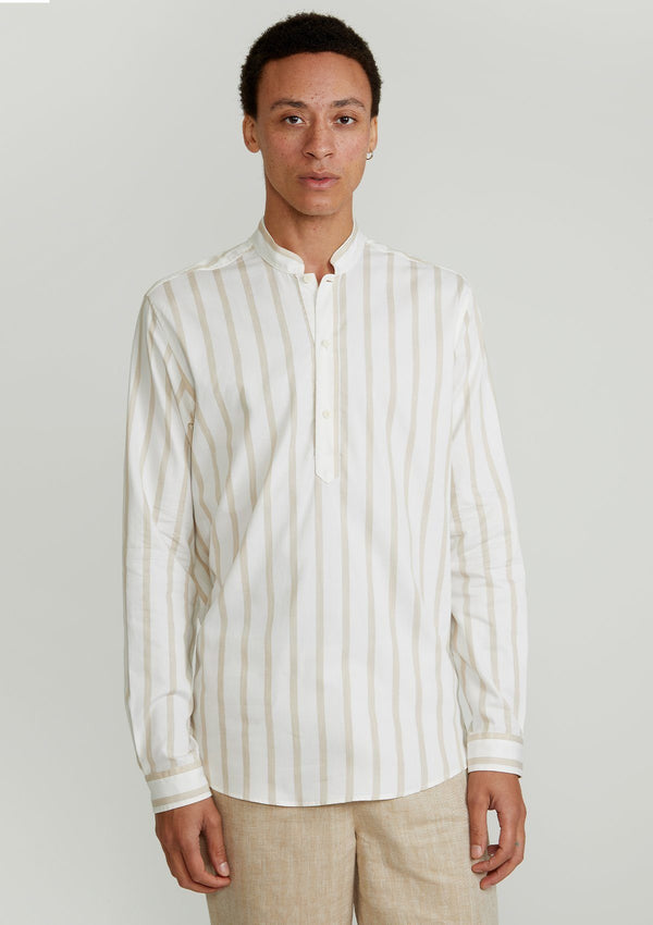 Cream Striped Mandarin Kaftan