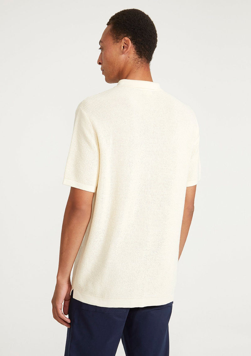 Cream Textured Knit Polo Shirt