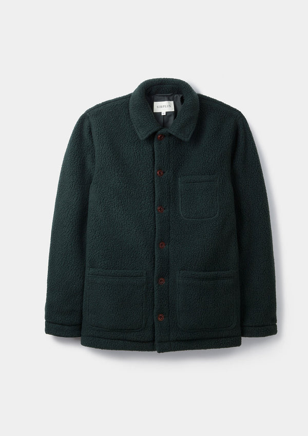 Dark Green Teddy Chore Jacket