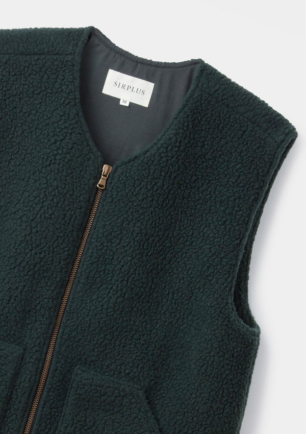 Dark Green Teddy Gilet