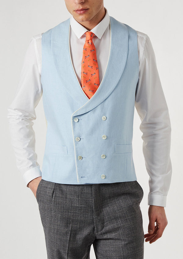 Pale Blue Shawl Lapel Double Breasted Waistcoat