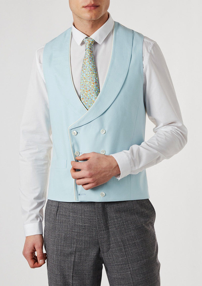Duck Egg Shawl Lapel Double Breasted Waistcoat