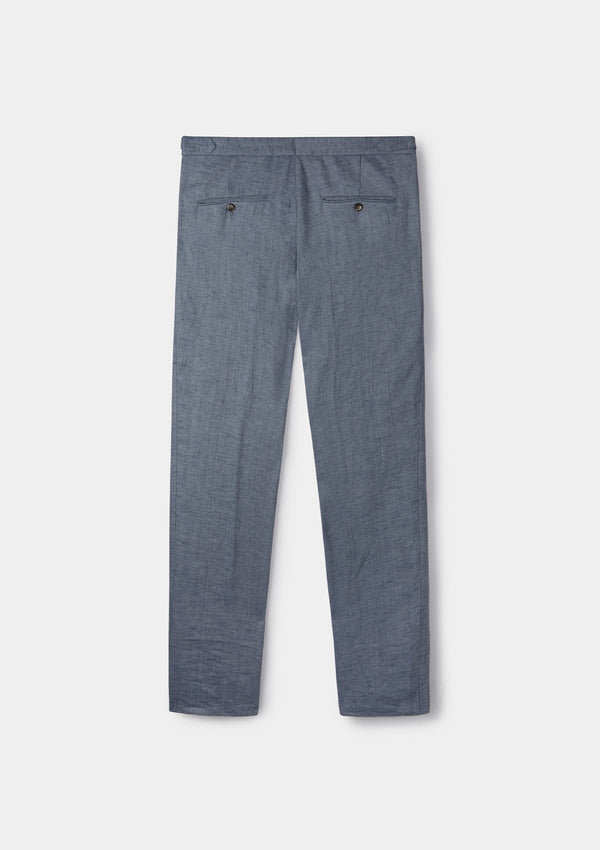 Dusty Blue Linen Formal Trousers