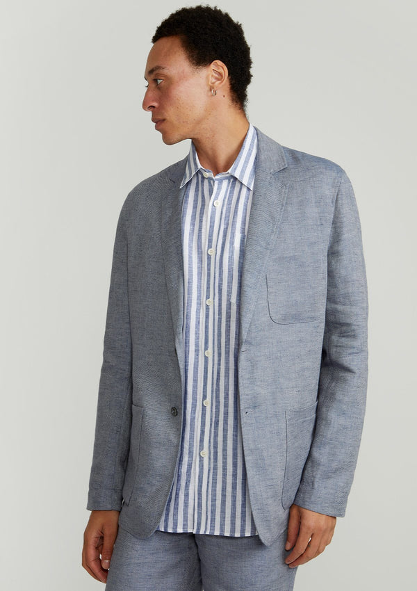 Dusty Blue Linen Unlined Blazer