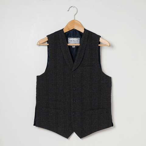CHARCOAL SINGLE BREASTED WAISTCOAT - 100% Check Wool