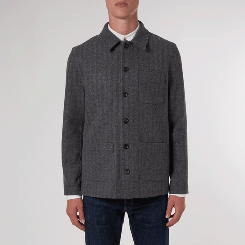 CHARCOAL WORKMAN JACKET - 100% Pure Wool