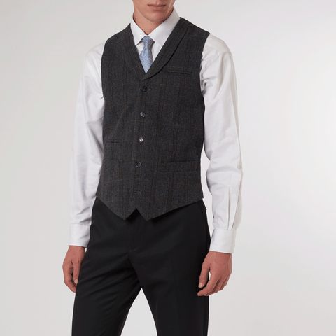CHARCOAL SINGLE BREASTED WAISTCOAT - 100% Check Wool, Single Breasted Waistcoats - Sir Plus