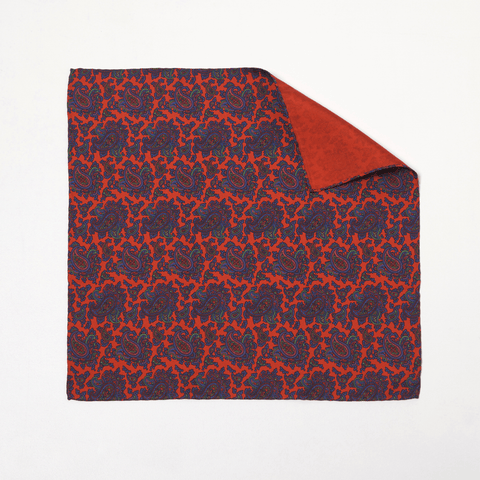 RED PAISLEY POCKET SQUARE - Premium Italian Silk, Pocket Squares - Sir Plus