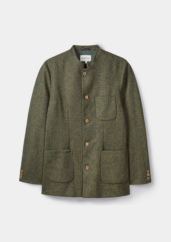Green Herringbone Tweed Nehru Jacket