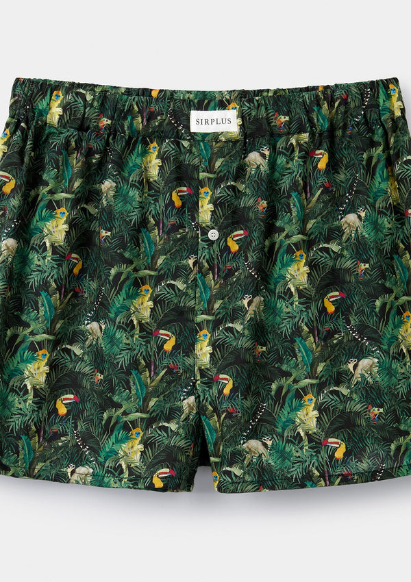 Green Toucan Print Boxer Shorts – Made with Liberty Fabric