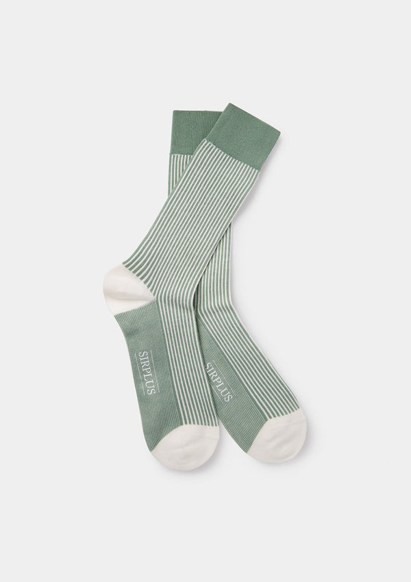 Green & White Stripe Socks