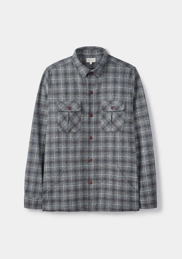 Grey Checked Wool Overshirt