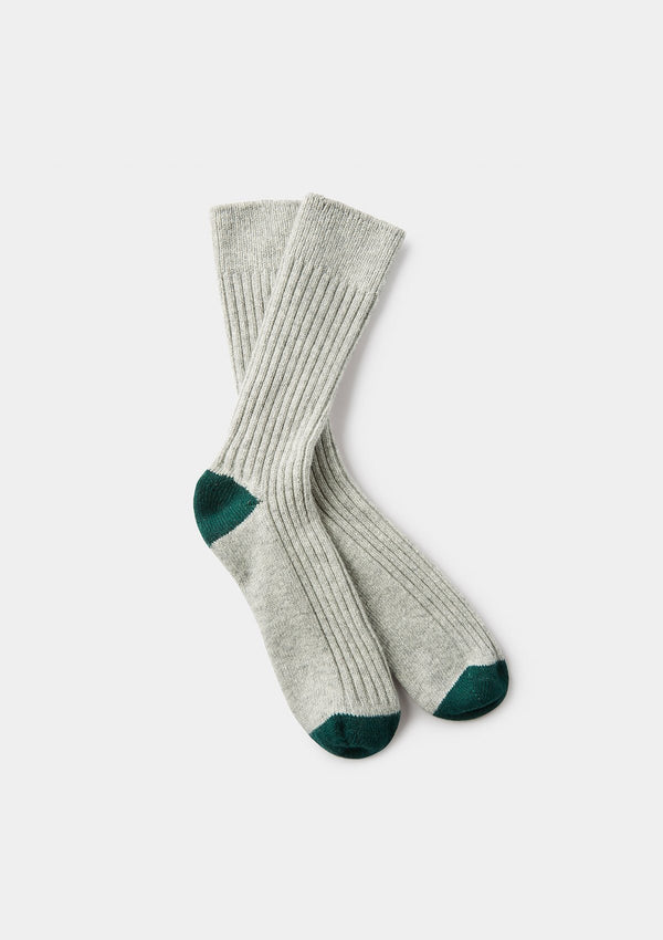 Grey Ribbed Wool Cashmere Socks