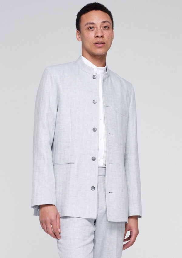 Grey Herringbone Linen Nehru Jacket