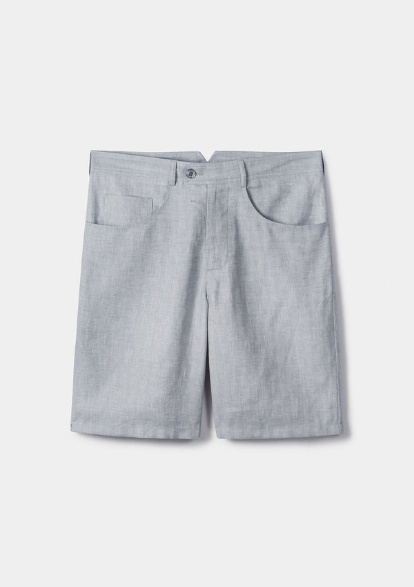 Grey Herringbone Linen Shorts