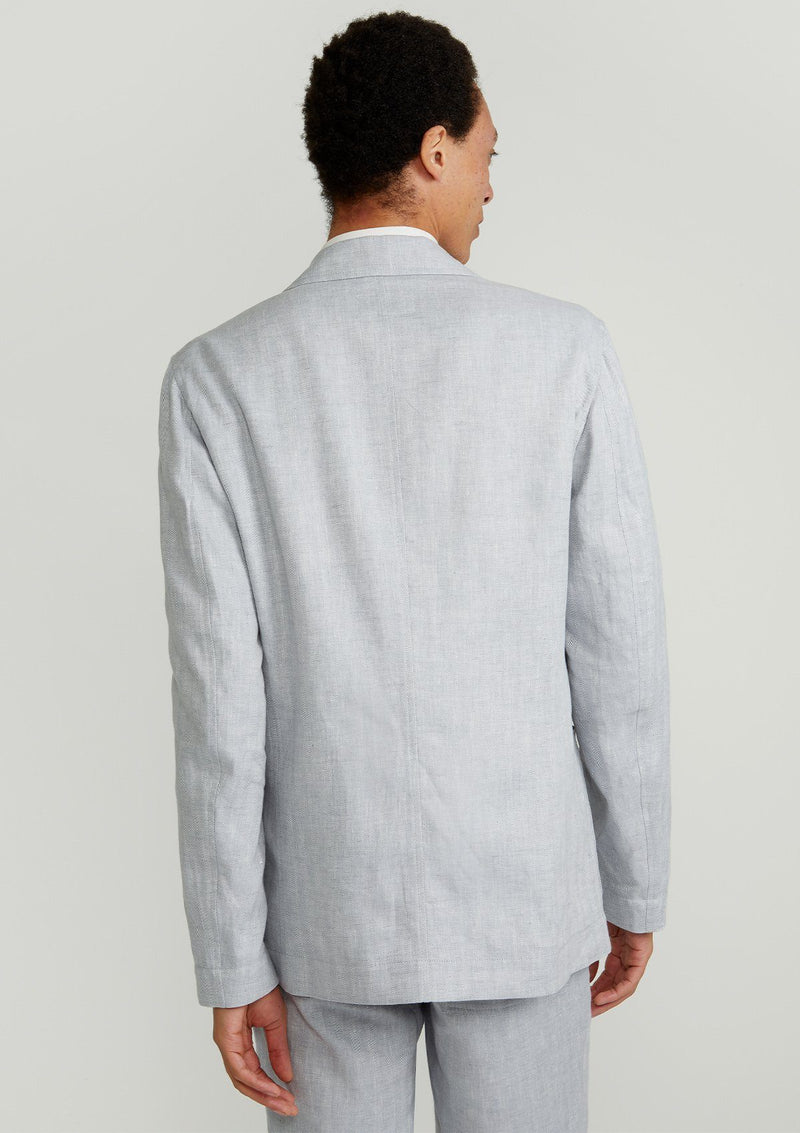 Grey Herringbone Linen Unlined Blazer
