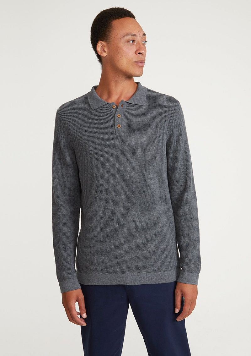 Grey Textured Knit Long Sleeve Polo