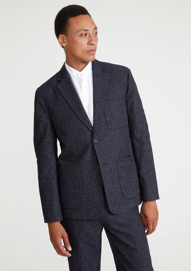Grey Unstructured Wool Silk Blazer
