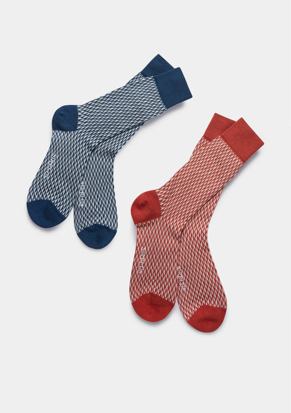 Blue Grid Organic Cotton Socks