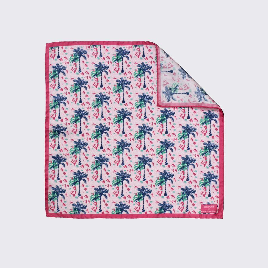 Pink Palm Silk Pocket Square - Rose Electra Harris, Pocket Squares - SIRPLUS
