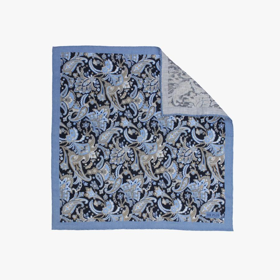 BLUE PAISLEY PRINT POCKET SQUARE - 100% Linen, Pocket Squares - Sir Plus