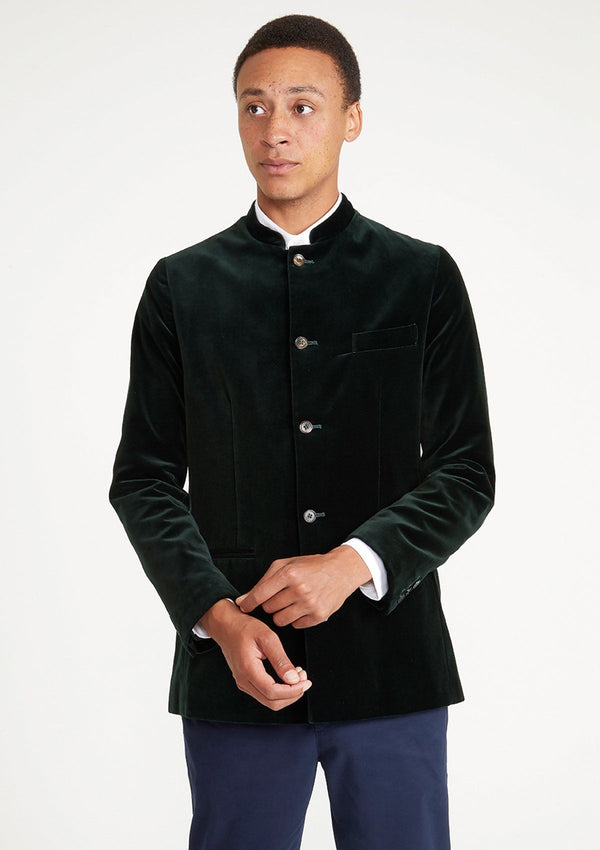 Ivy Green Velvet Nehru Jacket - SIRPLUS