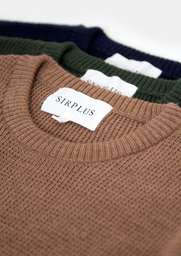 Forest Green Textured Crew Neck Jumper