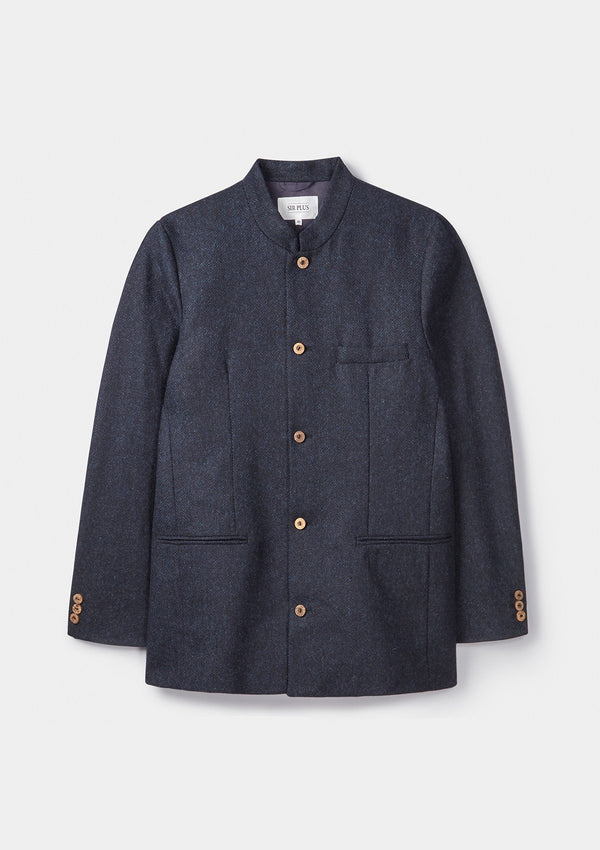 Midnight Herringbone Nehru Jacket