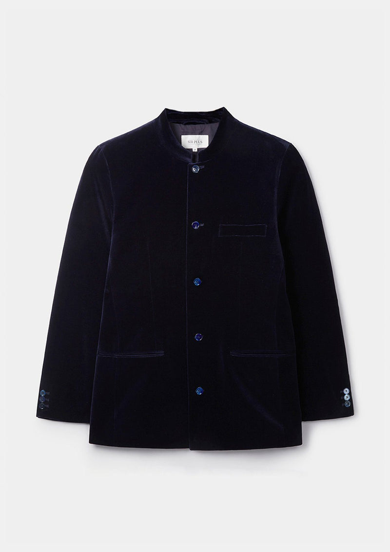 Midnight Navy Velvet Nehru Jacket - SIRPLUS