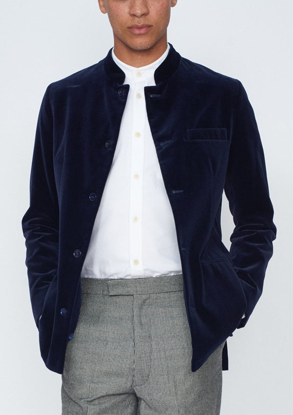Midnight Navy Velvet Nehru Jacket