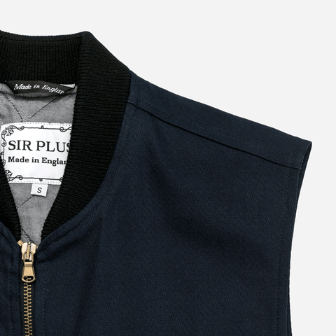 NAVY COTTON GILET - Cavalry Twill