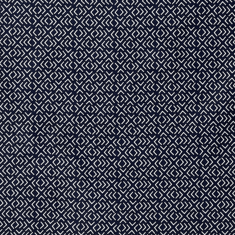 NAVY GEOMETRIC POCKET SQUARE - 100% Italian Silk