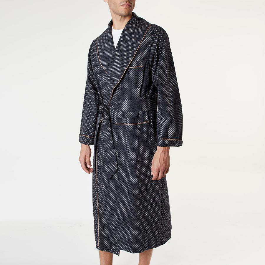 Navy Geometric Print Dressing Gown