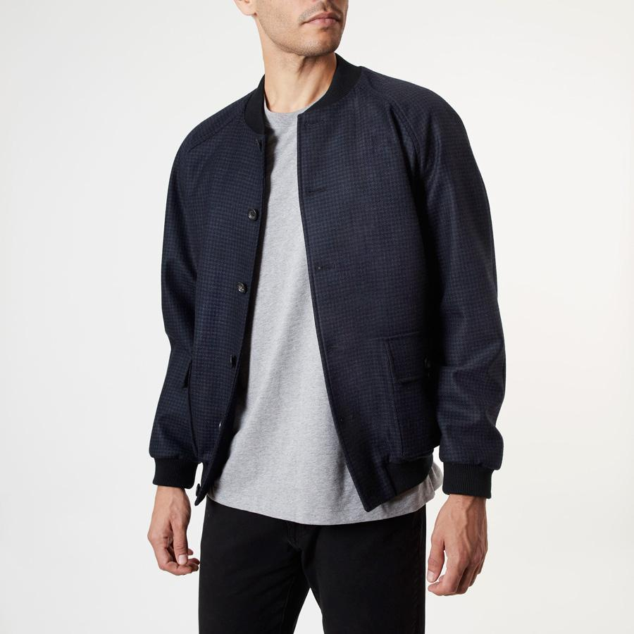 NAVY HOUNDSTOOTH BOMBER JACKET - 100% Wool, Bomber Jackets - Sir Plus