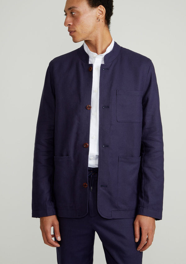Navy Arnad Cotton Linen Chore Nehru Jacket