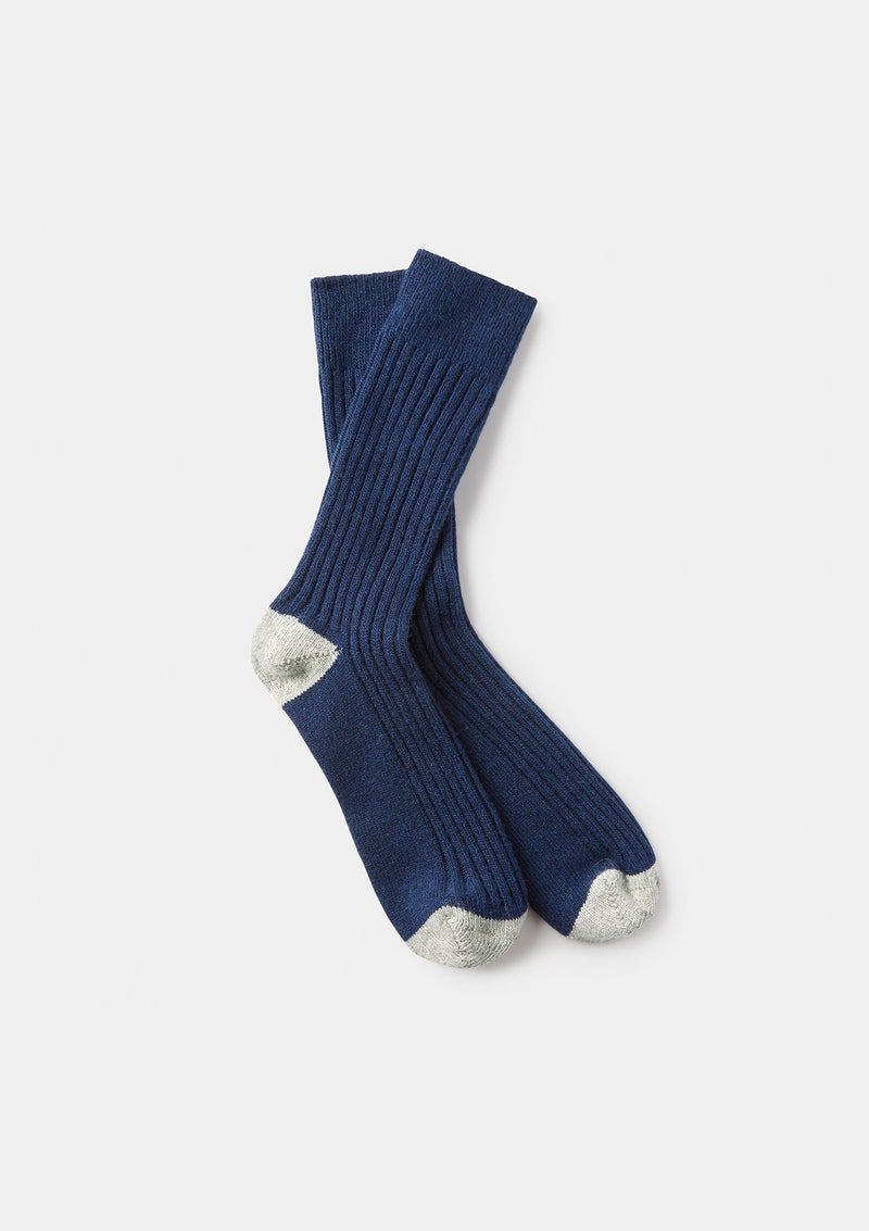 Navy Ribbed Wool Cashmere Socks
