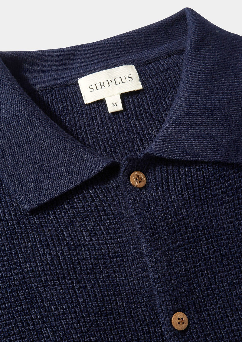 Navy Textured Knit Polo Shirt