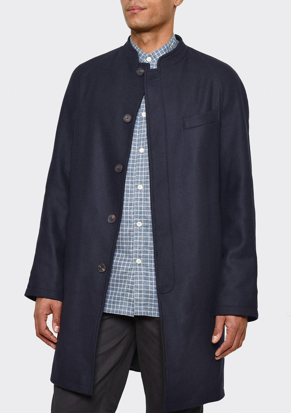 Navy Twill Nehru Collar Coat